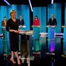 ITV presenter Julie Etchingham joins leader of the Green Party Caroline Lucas, leader of the Liberal Democrats Tim Farron, leader of Plaid Cymru Leanne Wood, leader of Ukip Paul Nuttall and leader of the SNP Nicola Sturgeon for The ITV Leaders Debate on May 18, 2017 in London, England. (Photo by Matt Frost/ITV via Getty Images)