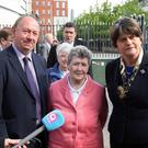Arlene Foster at Laganside Court yesterday with families and friends of those killed in the Kingsmill massacre