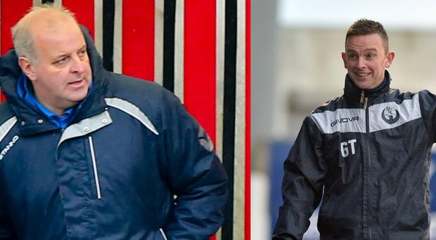 Dollingstown manager Stephen Uprichard (left) and Portstewart boss Gary Taylor (right) know their whole season boils down to the final two matches.