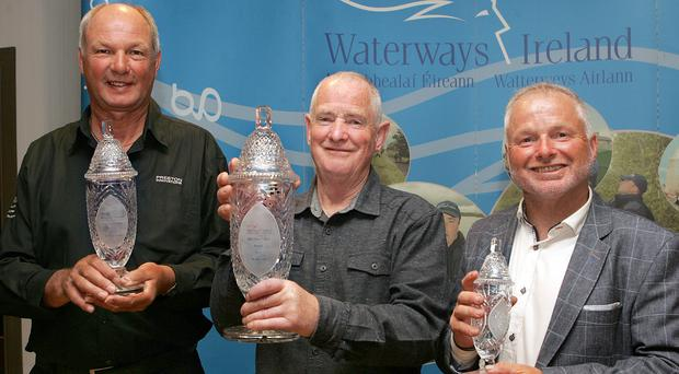 Net gains: Erne Classic winner Keith Murphy (centre) with second-placed Tom Pickering (left) and Tony Green, who was third (right)