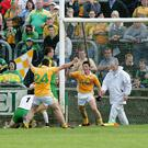 Shock troops: Tomas McCann scores against Donegal in Antrim's shock win in 2009