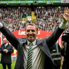 Celtic's Brendan Rogers celebrates following the Ladbrokes Scottish Premiership match at Celtic Park, Glasgow. PRESS ASSOCIATION Photo. Picture date: Sunday May 21, 2017. See PA story SOCCER Celtic. Photo credit should read: Craig Watson/PA Wire. EDITORIAL USE ONLY