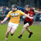 Fired up: Antrim's Ciaran Clarke pursues Down's Sean Ennis