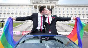 Groups campaigning for marriage equality in Northern Ireland stage a same sex marriage on the steps of Parliament Buildings at Stormont in east Belfast. Neal Rush and his partner Mark McLoughlin take part in the staged wedding. Picture by Jonathan Porter/PressEye.com