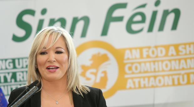 Sinn Fein's leader in Northern Ireland Michelle O'Neill helps launch the manifesto. Picture by Jonathan Porter/PressEye.com