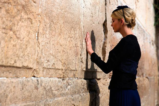 TOPSHOT - Ivanka Trump, the daughter of US President Donald Trump, prays at the Western Wall, the holiest site where Jews can pray, in Jerusalems Old City on May 22, 2017. / AFP PHOTO / POOL / Heidi LevineHEIDI LEVINE/AFP/Getty Images