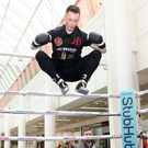 Ryan Burnett is flying high during a workout at the CastleCourt Shopping Centre in Belfast ahead of his clash with IBF World Bantamweight champion Lee Haskins at the SSE Arena on June 10. Phjoto: Presseye