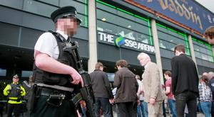 Police armed with G36C Assault Rifles patrol an event at the SSE Arena in Belfast on May 23rd 2017 as security searches take place following an attack at the Manchester Arena (Photo - Kevin Scott / Belfast Telegraph)