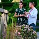 The Duchess of Cambridge with designer Ian Price in his garden Mind Trap which has won a gold award at the RHS Chelsea Flower Show