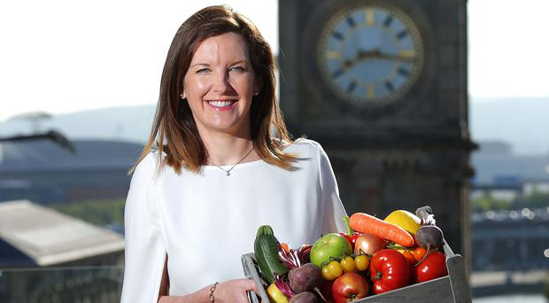 Musgrave trading director Ciara McClafferty with a box of local produce