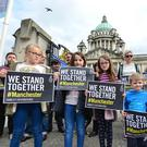 A silent vigil took place in Belfast city centre tonight in memory of the victims of last night's bomb attack in Manchester