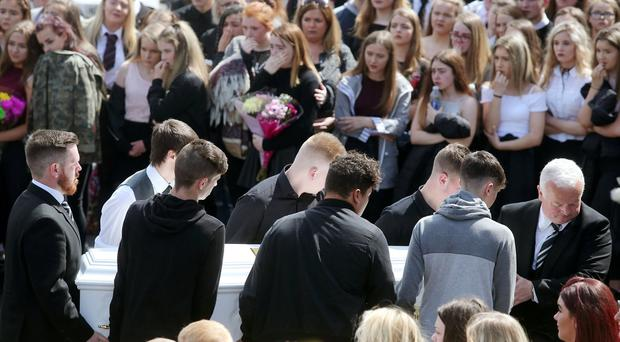 Funeral of Caitlin White at Drumalane Church in Newry, Co. Down. The 15-year-old died in Portadown on Sunday of a suspected drug overdose.