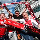 Ajax fans enjoy the atmosphere prior to the UEFA Europa League Final between Ajax and Manchester United at Friends Arena on May 24, 2017 in Stockholm, Sweden. (Photo by Alex Grimm/Getty Images)