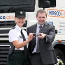 PSNI inspector Rosie Leech along with Ricky Graham, operations director at Hireco at the campaign launch in Belfast yesterday