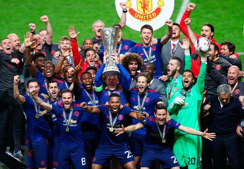 Wayne Rooney of Manchester United lifts The Europa League trophy after the UEFA Europa League Final between Ajax and Manchester United at Friends Arena on May 24, 2017 in Stockholm, Sweden. (Photo by Alex Grimm/Getty Images)