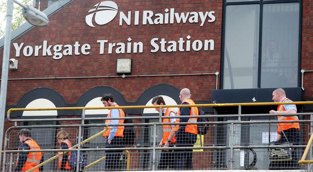 The scene at Yorkgate Train Station in north Belfast which has been partly closed due to overnight vandalism. Photo: Jonathan Porter/PressEye.com 25/05/2017
