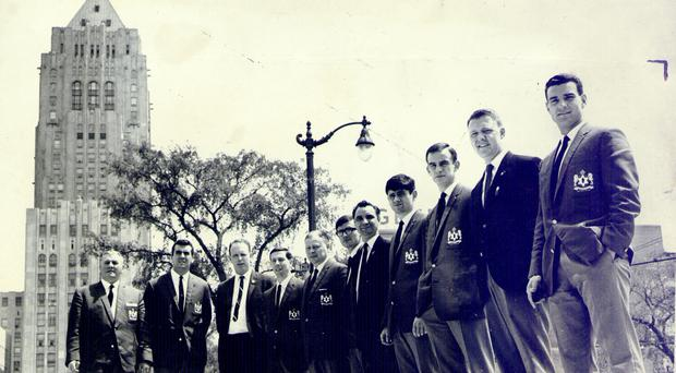 Strong line-up: The Detroit Cougars outside their hotel in 1967
