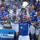 Linfield captain Jamie Mulgrew lifts the Gibson Cup as the Blues this year ended a five year wait to land the Danske Bank Premiership title.