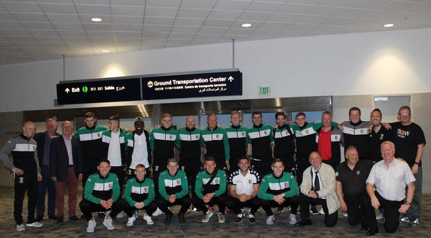 The Glentoran squad in the USA for Saturday's friendly against Detroit City FC.
