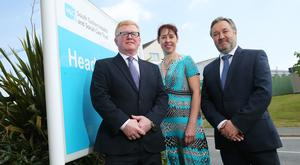 Pictured from left is Stephen Stewart, Director of Technology and Telecommunications and Roisin Coulter, Director of Planning, Performance and Informatics at the South Eastern Health & Social Care Trust with Kevin McEnoy, Head of Health Sector at BT Business in Northern Ireland