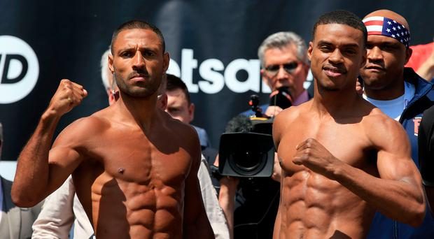 Raring to go: Kell Brook and Errol Spence Jr at their weigh-in