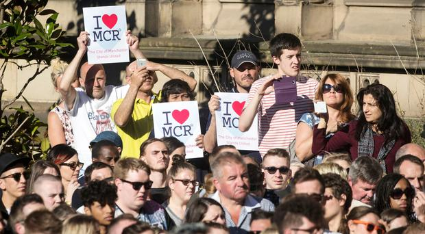 A vigil in Albert Square outside Manchester Town Hall held to remember the victims of Monday's bombing