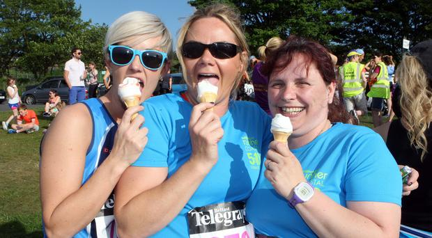 Belfast Telegraph Runher's Coastal Challenge starting at Seapark, Holywood and finishing at Crawfordsburn Country Park. Wendy Graham, Laura Heggarty and Yvonne McClenaghan from Ballymena. Photo by Freddie Parkinson / Press Eye