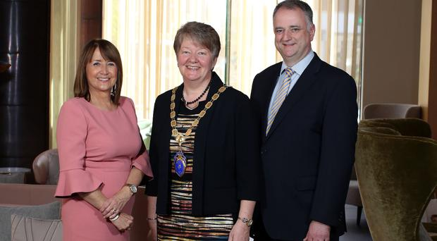 NI Chamber chief executive Ann McGregor, president Ellvena Graham and vice-president John Healy