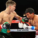 Third win: Conlan lands a blow on Mexican journeyman Alfredo Chanez at the UIC Pavilion, Chicago.
