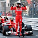 Jump for joy: Vettel moved 25 points clear of Lewis Hamilton after he recorded his third win of the season in the Monaco GP