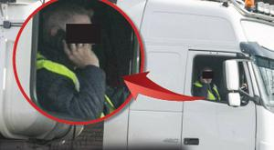 Truck drivers glued to their phones