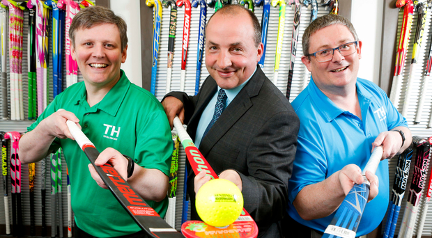 Steven McMurray (left) of McMurray Sports with DJ Wilson (centre) from Ulster Bank, and Alan McMurray, McMurray Sports, as they mark the deal, which will see the local company acquire Scottish rival, Gilmour Sports