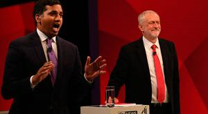 Labour leader Jeremy Corbyn (right) with Sky News political editor Faisal Islam during a joint Channel 4 and Sky News general election programme recorded at Sky studios in Osterley, west London. PA
