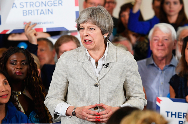 Theresa May speaks during a campaign event on May 29, 2017 in Twickenham, United Kingdom. (Photo by Leon Neal/Getty Images)