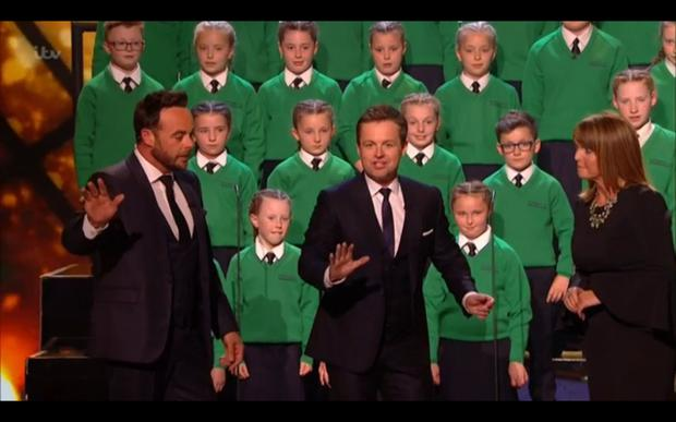 Ant and Dec are forced to stop St Patrick's performance due to a technical glitch. (ITV)
