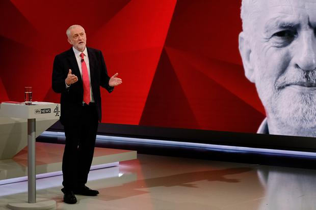 Labour leader Jeremy Corbyn answers questions from the studio audience (Photo by Stefan Rousseau - WPA Pool/Getty Images)