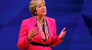 British Prime Minister Theresa May answers questions from the studio audience as she takes part in the