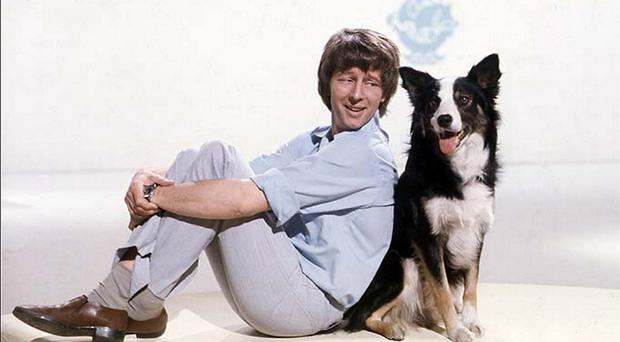 Former Blue Peter presenter John Noakes with Shep the dog