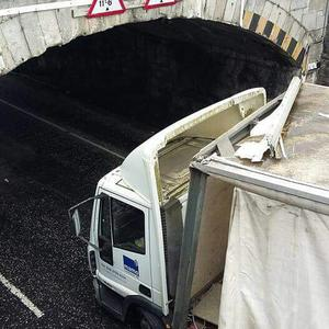 The lorry was left damaged after the incident. Pic PSNI