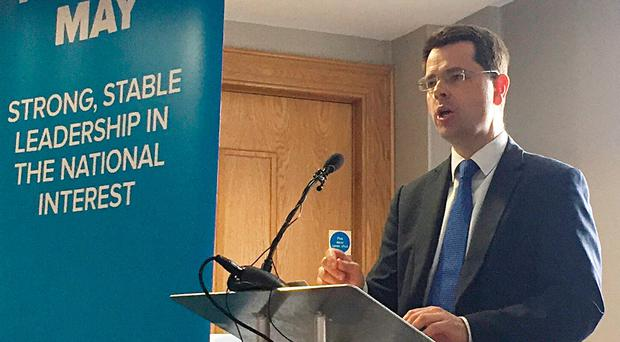 Northern Ireland Secretary James Brokenshire speaks during the Conservatives' Northern Ireland manifesto launch at the Crowne Plaza hotel in Belfast. PA