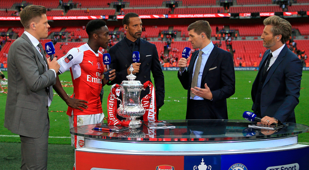 Sweet FA: Jake Humphrey and the BT Sport team grab a word with Arsenal striker Danny Welbeck after the final. We're not sure if his dad, Stan, made the game