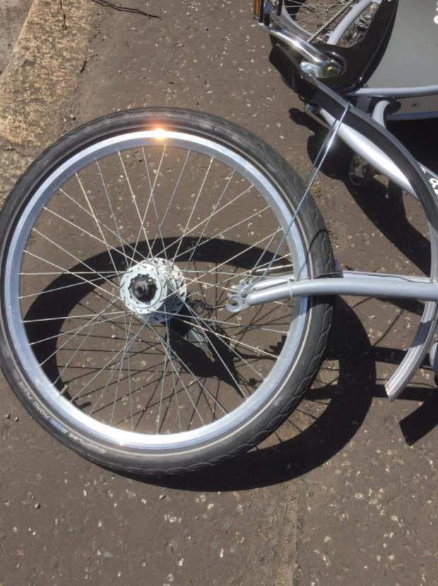 The bolt had been removed from the wheel.