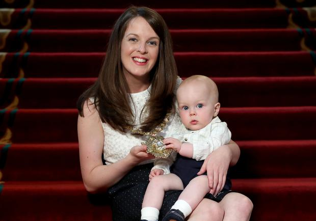 New Lord Mayor of Belfast, Councillor Nuala McAllister, pictured with her baby son Finn on Thursday evening after she was elected the city's first citizen at the annual general meeting of Belfast City Council. Photo by William Cherry/Press Eye
