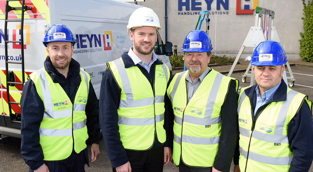 From left: Ryan Scate of Heyn Engineering, Dean Campbell of NI Water and Kevin Denvir and Gerry Kelly of Heyn Engineering. NI Water awarded a £3.25m contract to Heyn for safety and maintenance equipment