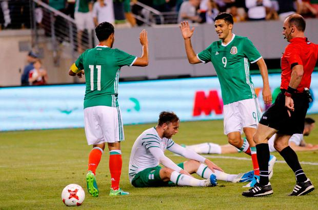 Carlos vela (11) celebrate with Carlos Vera (9) the goal during the friendly match between Mexico and the Republic of Ireland on June 1, 2017 at MetLife Stadium in East Rutherford, New Jersey. / AFP PHOTO / KENA BETANCURKENA BETANCUR/AFP/Getty Images
