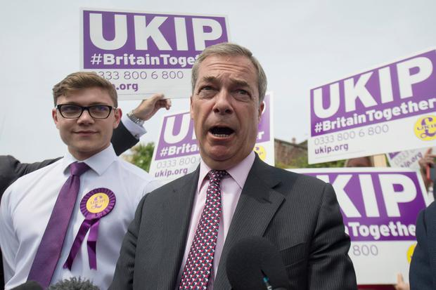 Former Ukip leader Nigel Farage on the general election campaign trail in Clacton. PA