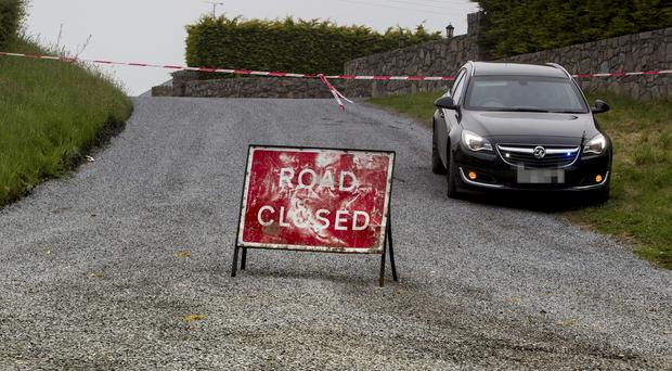 The Bog Road near Mullaghbawn, Co Armagh was closed following the death of a road worker on Sunday, May 31. Photo © NewRayPics.com 31.05.17