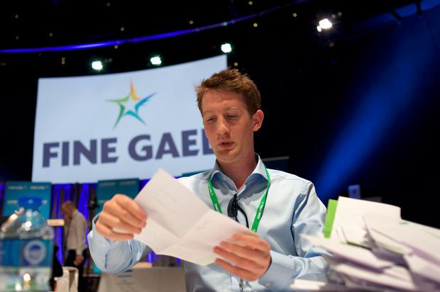 Vote counting begins for the Fine Gael Leadership election 2017, at the National Count Centre, Maison House in central Dublin on June 2, 2017, with ministers Simon Coveney and Leo Varadkar contesting the leadership of the party. AFP/Getty Images