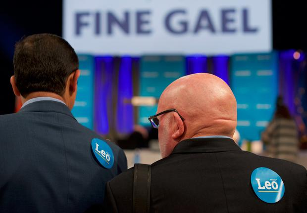 Supporters of front-runner candidate Leo Varadkar are pictured as vote counting begins for the Fine Gael Leadership election 2017, at the National Count Centre, Maison House in central Dublin on June 2, 2017, with ministers Simon Coveney and Leo Varadkar contesting the leadership of the party. AFP/Getty Images