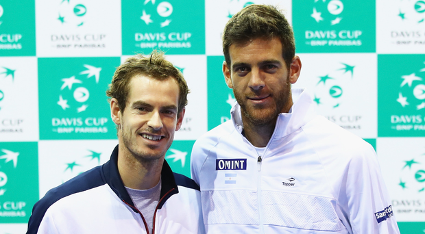 Epic: Andy Murray (left) with Juan Martin Del Potro ahead of record-breaking Davis Cup clash